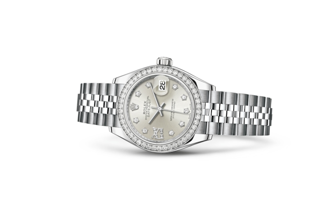 Lady-Datejust 28 - Argenté, serti de diamants, Acier Oystersteel, or gris et diamants