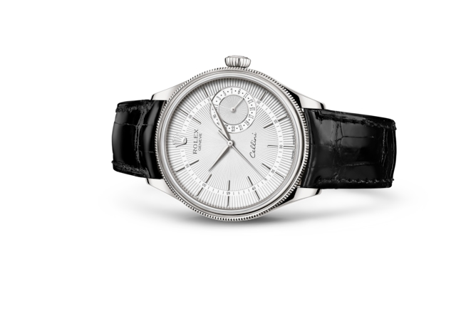 Cellini Date - Silver guilloche, white gold