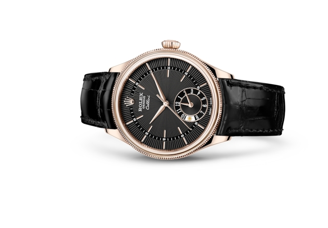 Cellini Dual Time - Guilloché noir, or Everose