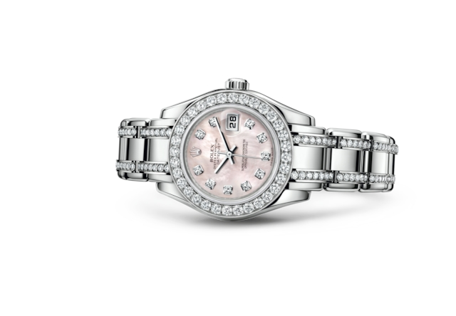 Pearlmaster 29 - Pink mother-of-pearl set with diamonds, white gold and diamonds