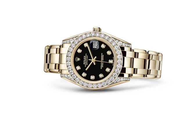 Pearlmaster 34 - Black set with diamonds, yellow gold and diamonds