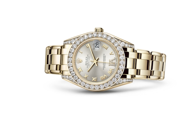 Pearlmaster 34 - Silver set with diamonds, yellow gold and diamonds