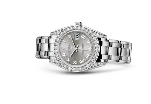Pearlmaster 34 - Rhodium, white gold and diamonds
