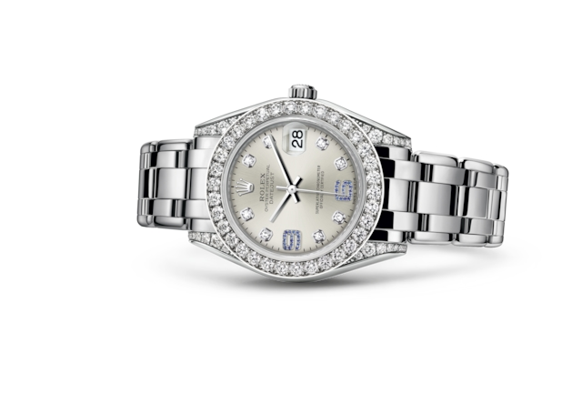 Pearlmaster 34 - Silver set with diamonds and sapphires, white gold and diamonds