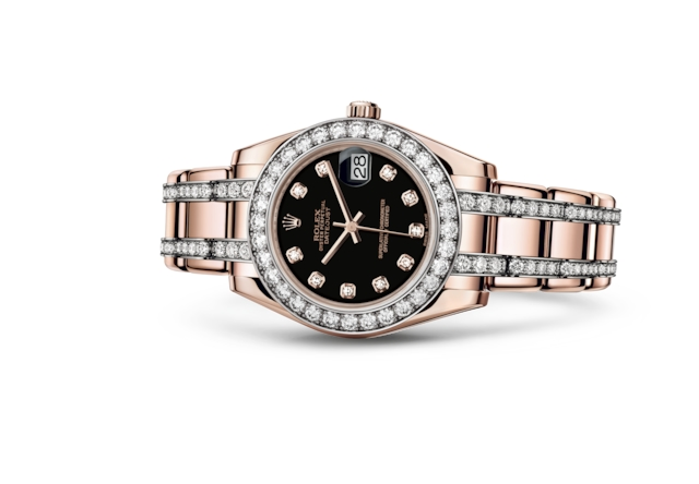 Pearlmaster 34 - Black set with diamonds, Everose gold and diamonds