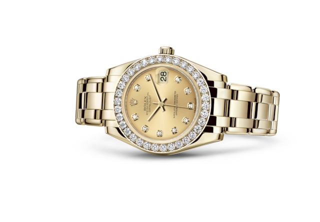 Pearlmaster 34 - Champagne-colour set with diamonds, yellow gold and diamonds