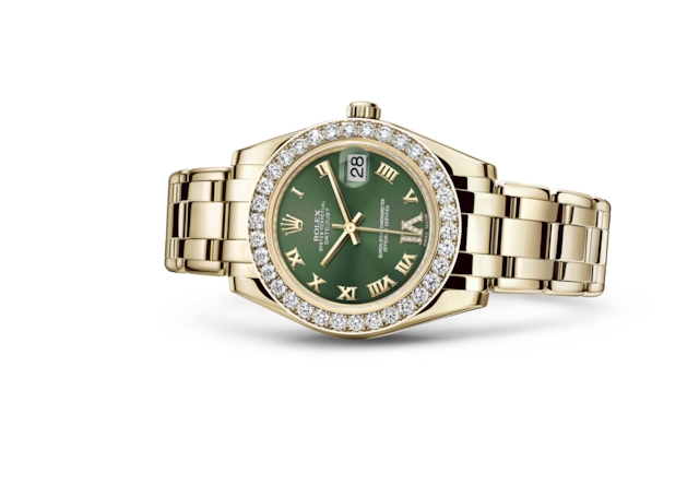 Pearlmaster 34 - Olive green set with diamonds, yellow gold and diamonds