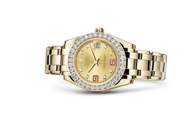 Pearlmaster 34 - Champagne-colour set with diamonds and rubies, yellow gold and diamonds