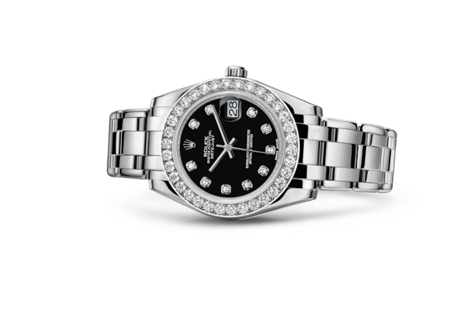 Pearlmaster 34 - Black set with diamonds, white gold and diamonds