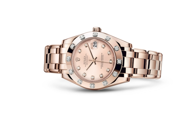 Pearlmaster 34 - Pink set with diamonds, Everose gold and diamonds