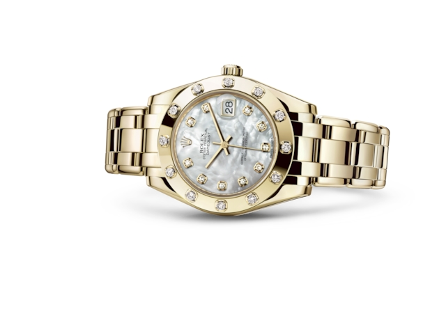 Pearlmaster 34 - White mother-of-pearl set with diamonds, yellow gold and diamonds