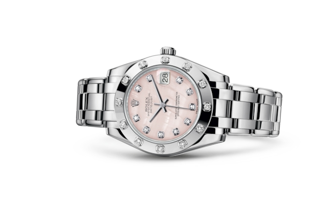 Pearlmaster 34 - Pink mother-of-pearl set with diamonds, white gold and diamonds
