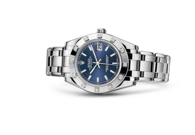 Pearlmaster 34 - Blue, white gold and diamonds