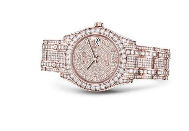 Pearlmaster 39 - 18 ct gold paved with 713 diamonds, Everose gold and diamonds