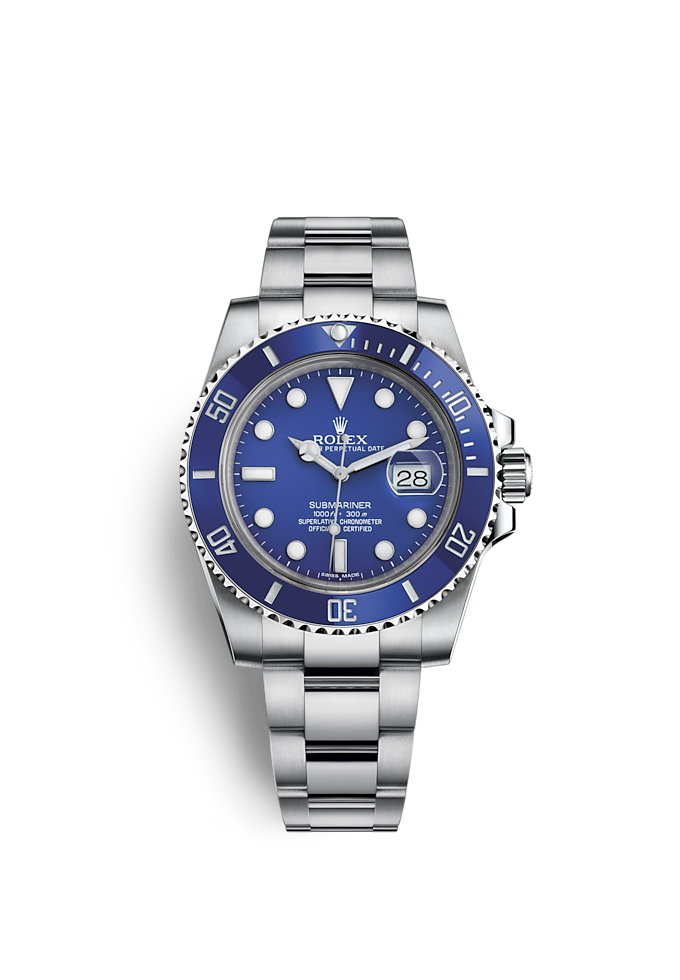 Submariner Date, Oyster, 40 mm, witgoud